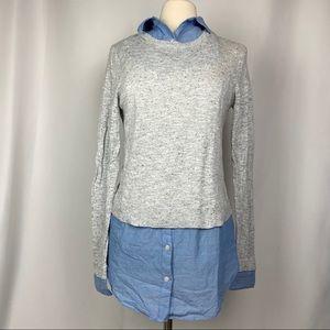 Loft False Layered Long Sleeve Sweater, Sz Small